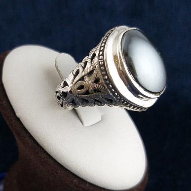 hadid-chinese-ring-2 انگشتر نقره مردانه دست ساز شاه عباسی ساده با سنگ حدید صینی+حکاکی