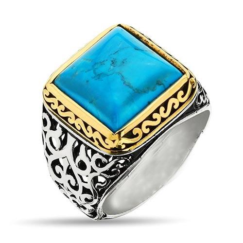 turquoise-stone-hand-made-silver-ring فیروزه و روش تشخیص حرفهای آن + تمام خواص سنگ فیروزه + احادیث