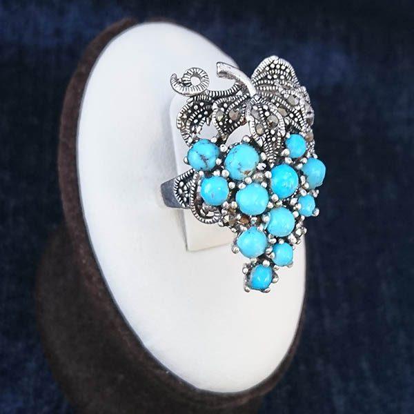 2-1-022-turquoise-ring-4 انگشتر نقره زنانه طرح خوشه ای صبا با نگین فیروزه نیشابوری