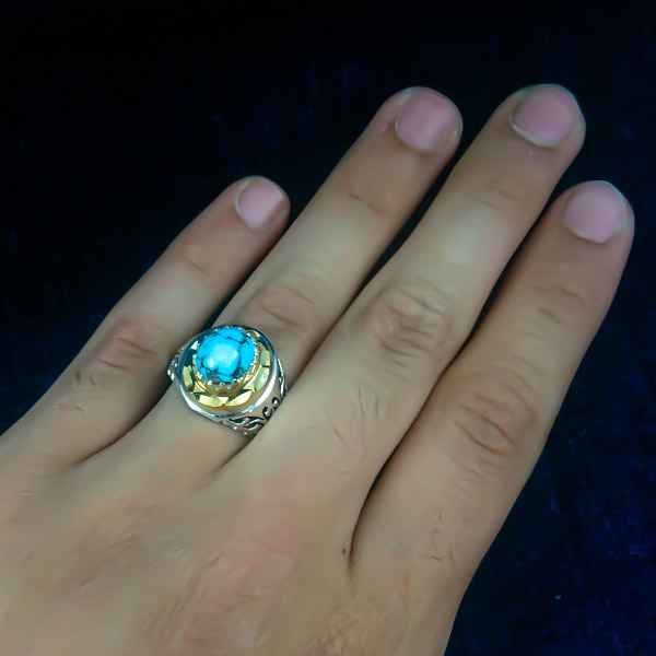2-1-055-turquoise-ring-1 خواص سنگ فیروزه: شگفتانگیزترین خواص انگشتر فیروزه
