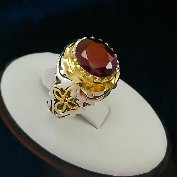 9-1-004-garnet-ring-5 گردنبند نقره زنانه طرح آرنیکا ۲ با سنگ گارنت الماس تراش