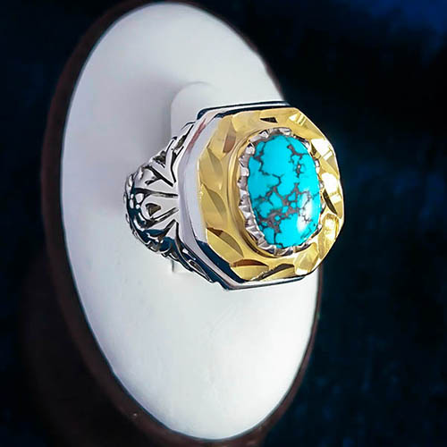 Turquoise-mens-ring-1 خواص سنگ فیروزه: شگفتانگیزترین خواص انگشتر فیروزه