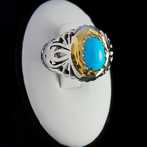 Turquoise-mens-ring-2 خواص سنگ فیروزه: شگفتانگیزترین خواص انگشتر فیروزه
