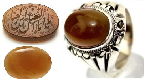 -و-انگشتر-جزع-یمنی-قهوه-ای عقیق سلیمانی چیست؟ معرفی خواص سنگ عقیق سلیمانی (باباقوری) و انواع آن