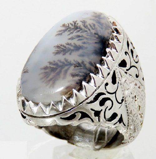 Dendritic-agate-ring-min-e1565191297248 سنگ شجر : پاسخ همه سوالات درباره انگشتر شجر + عکس شجر های خاص