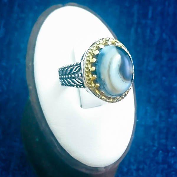 4-1-040-solomon-agate-ring-3 انگشتر نقره مردانه طرح خوشه ای دورطلایی با سنگ عقیق سلیمانی