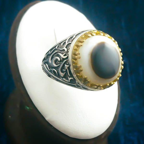 4-1-045-solomon-agate-ring-3 انگشتر نقره مردانه طرح یا علی یا فاطمه با سنگ عقیق سلیمانی (باباقوری)