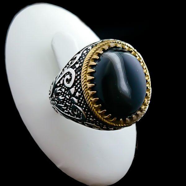 4-1-065-solomon-agate-ring-4 انگشتر نقره مردانه طرح بهشاد با سنگ عقیق سلیمانی