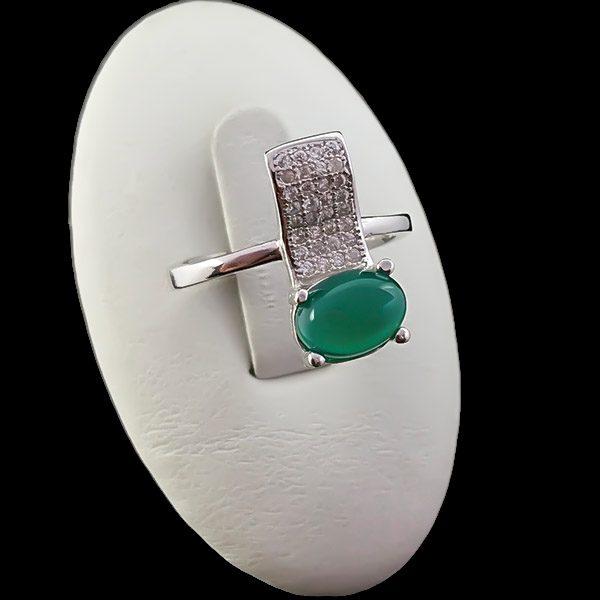 4-1-092-agate-ring-3 انگشتر نقره زنانه طرح ماریا با سنگ عقیق سبز