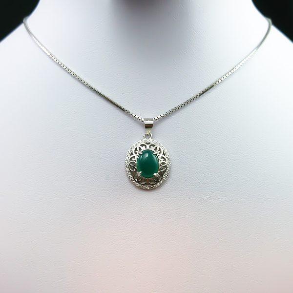 4-3-042-agate-necklace-2 گردنبند نقره زنانه طرح مانیا با سنگ عقیق سبز