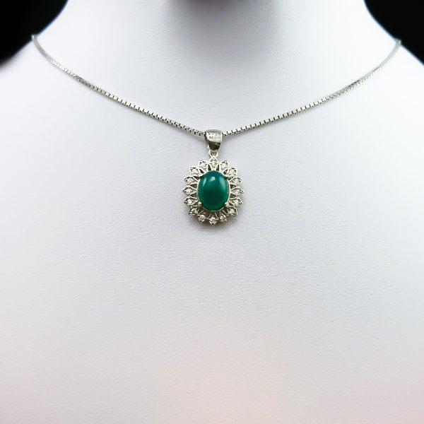 4-3-045-agate-necklace-5 گردنبند نقره زنانه طرح مرسانا با سنگ عقیق سبز