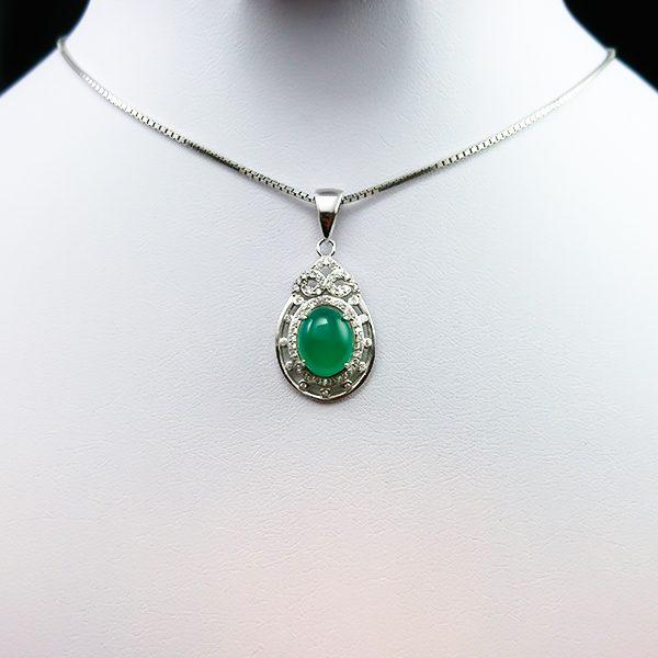 4-3-049-agate-necklace-5 گردنبند نقره زنانه طرح نارنیا سنگ عقیق سبز اصلی
