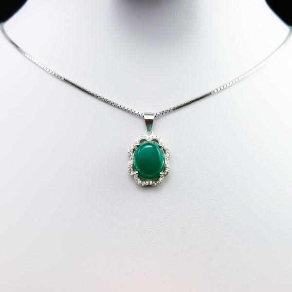 4-3-050-agate-necklace-5 گردنبند نقره زنانه طرح نازلی سنگ عقیق سبز اصلی