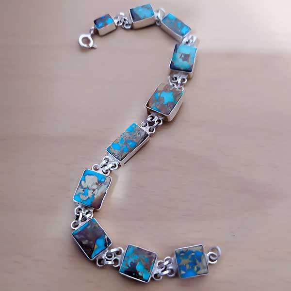 2-4-016-دستبند-فیروزه-زنانه- خواص سنگ فیروزه: شگفتانگیزترین خواص انگشتر فیروزه